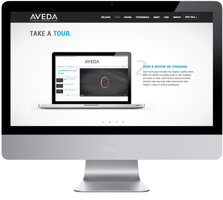 Learn Aveda Website Interior