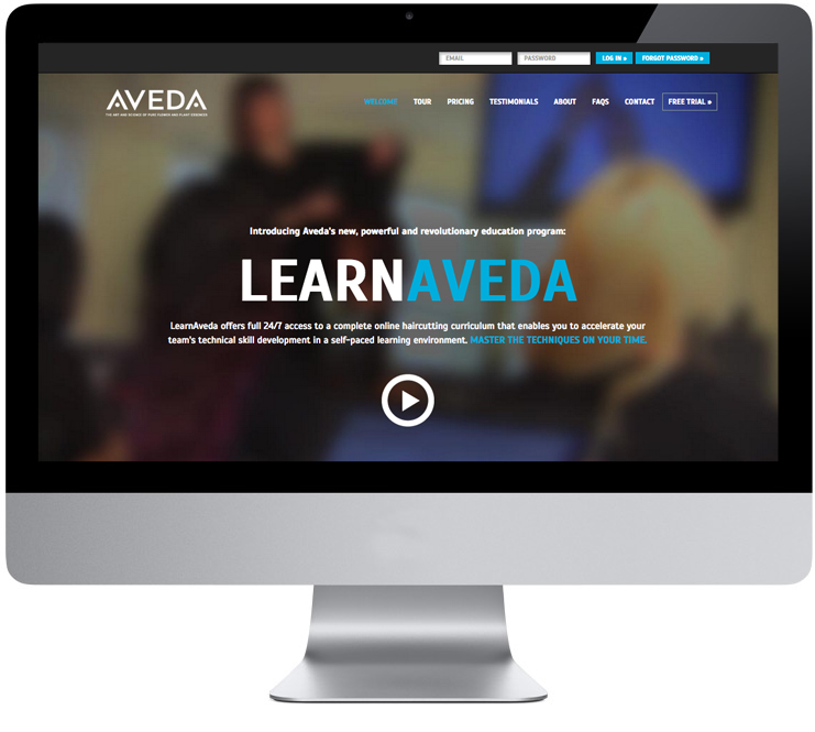 Learn Aveda Website Homepage