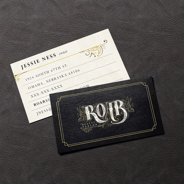 Roar beauty parlor branding im marketing group an aveda partner roar beauty parlor business cards colourmoves