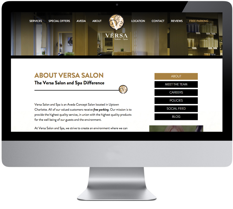 Versa Salon Website Interior