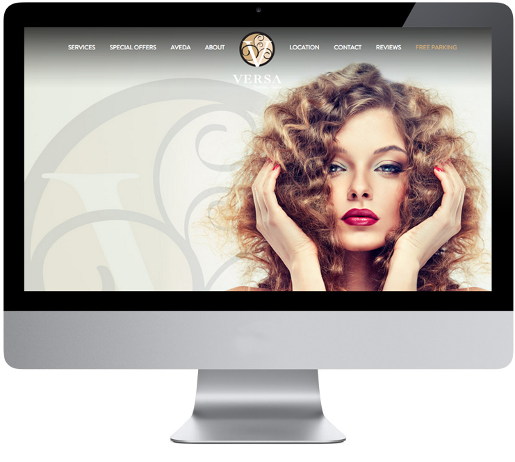 Versa Salon Website Homepage